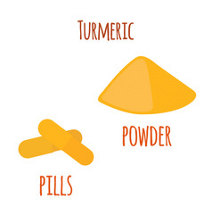 turmeric root spice slices powder pills vector image
