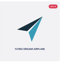 Two color flying origami airplane icon from user vector