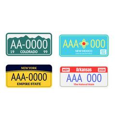 vehicle registration plates transportation vector image
