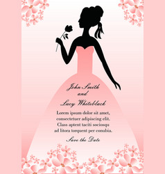 wedding announcement with silhouette lady in pink vector image