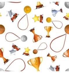 Winners awards with medals cups and stars on vector