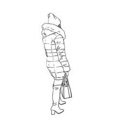 Woman in winter warm clothes coat with hood hat vector