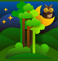 woodland scenery silhouette of forest at night vector image
