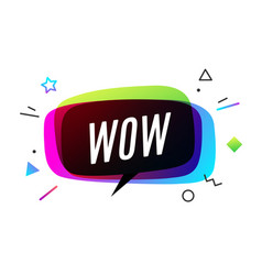Wow banner speech bubble poster vector