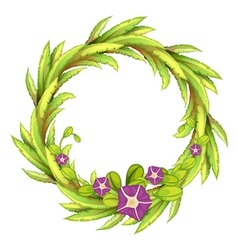 A round green border with flowers vector image vector image