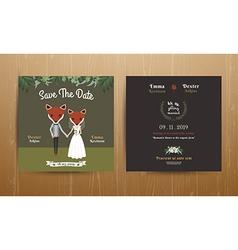 Animal bride and groom cartoon wedding invitation vector image vector image