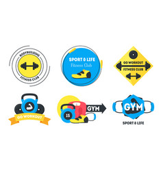 cartoon fitness badges or labels set vector image vector image