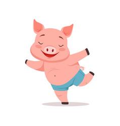 cute happy pig having fun funny cartoon animal vector image
