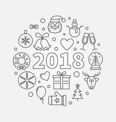 happy new 2018 year round in vector image vector image