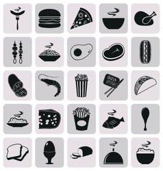 Simple black style Food Icon Set vector image vector image