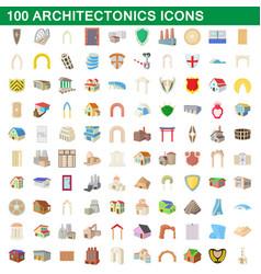 100 architectonics icons set cartoon style vector image vector image
