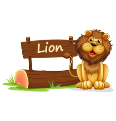 A lion near a wooden signage vector image vector image