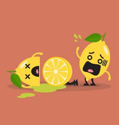 died cut lemon with shocked lemon vector image