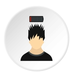 Male avatar and discharge batteries icon vector image