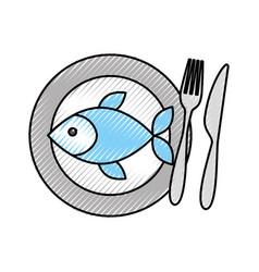 restaurant fish food with dish and fork knife vector image