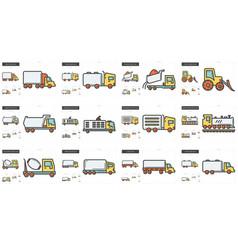transportation line icon set vector image