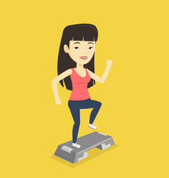 woman exercising on stepper vector image vector image