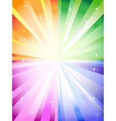 A colorful background with a burst and stars vector image vector image