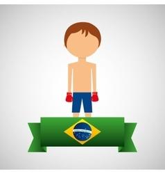 cartoon boxing player brazilian label vector image vector image