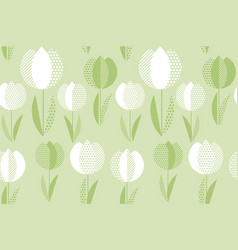 decorative green color tulip flower seamless vector image vector image