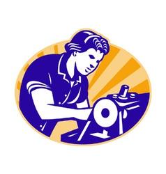 Female machinist seamstress worker sewing machine vector