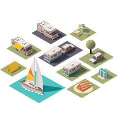 isometric camping icons vector image