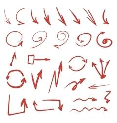 Red Hand Drawn Arrows vector image vector image