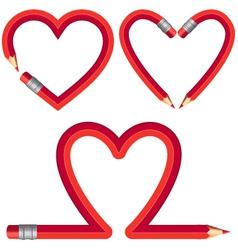 red pencil hearts set vector image vector image