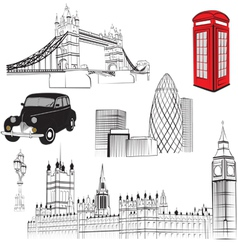 set of elements representing England vector image