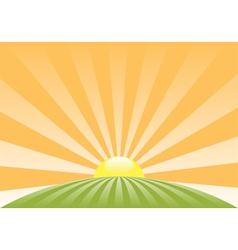 sun sky retro meadow roundN vector image vector image