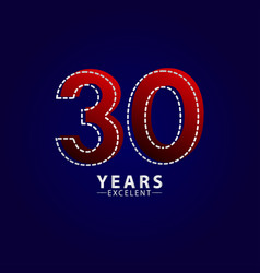 30 years excellent anniversary celebration red vector