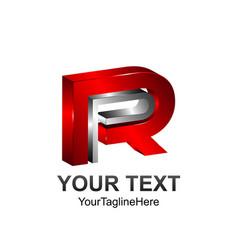 3d letter pr or rp initial alphabet logo design vector