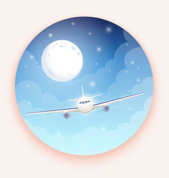 airplane on blue background with moon and stars vector image