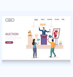 Auction website landing page design vector
