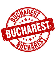 Bucharest red grunge round vintage rubber stamp vector