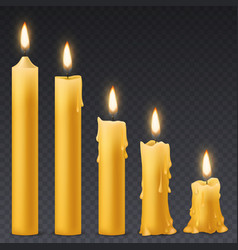 burning candles wax candle with flicker fire vector image
