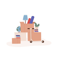 Cartoon boxes with different things ready vector