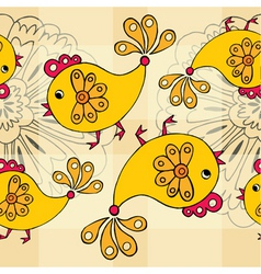 cartoon chickens pattern vector image vector image