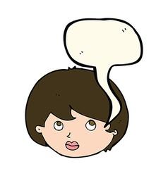 cartoon female face looking upwards with speech vector image