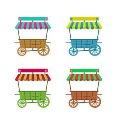 cartoon flower stand kiosk on wheels set vector image