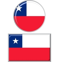 Chilean round and square icon flag vector image