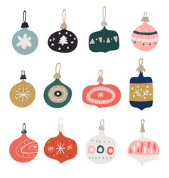 christmas balls in different colors hanging happy vector image