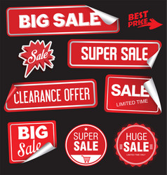 collection of red labels with rounded corners and vector image