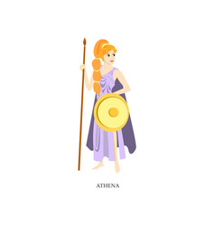 Cute red hair greek woman god athena with gold vector