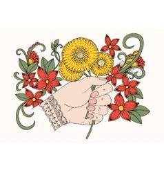 doodle bouquet of dandelions in hand vector image