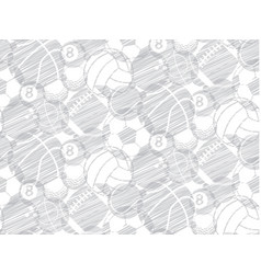 drawing sketch ball sport seamless backdrop vector image