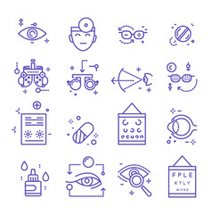 eye treatment ophthalmology isolated linear icons vector image