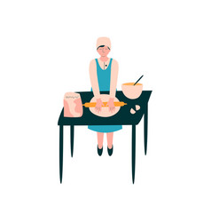 Female cook rolling dough on table professional vector