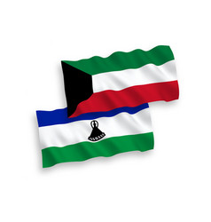 Flags of lesotho and kuwait on a white background vector