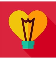 Flat Design Heart Shaped Light Bulb Icon vector